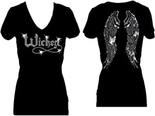 Rockeroo Boutique Wicked Halloween Angel Wings Rhinestone V Neck Short Sleeve Tee Shirt