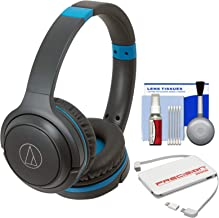 Audio-Technica ATH-S200BT Bluetooth Wireless On-Ear Headphones (Gray/Blue) with Portable Charger + Cleaning Kit