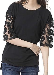 [セカンドルーツ] エンブロスリーブ レディース 袖レース とっぷす 透け感Tシャツ かっとそー エンブロスリーブプルオーバー