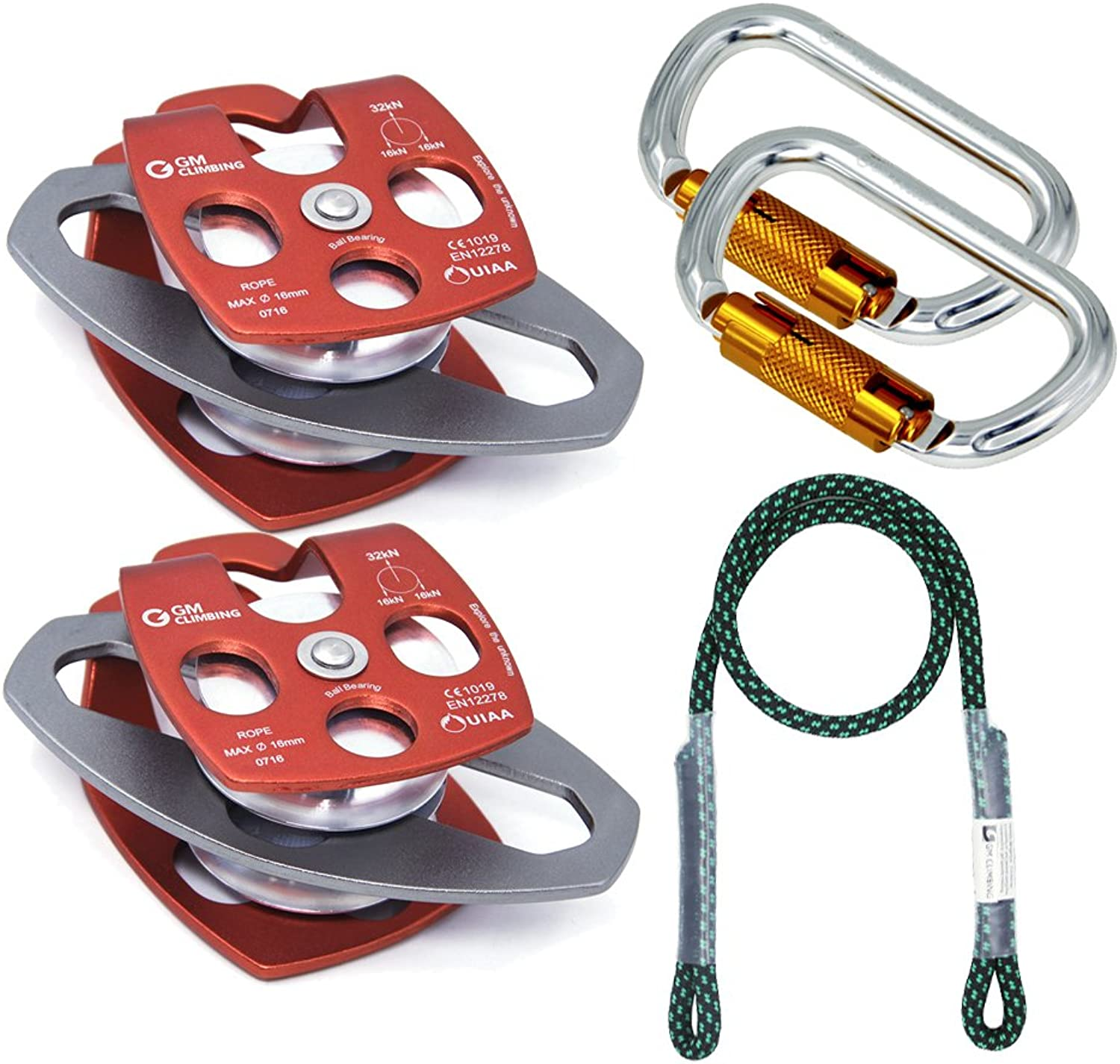 GM CLIMBING Hardware Kit for 5 1 Mechanical Advantage Pulley   Hauling   Dragging System Block and Tackle