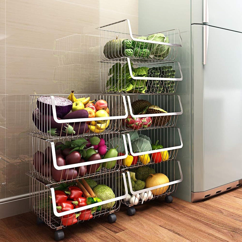 Sturdy Storage Unit Kitchen Shelf Floor Multi-Layer Storage Rack 304 Stainless Steel Vegetable Storage Shelf (Size   Two-Storey Receiving Rack)