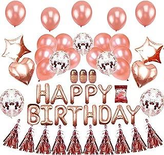 EKKONG Happy Birthday Decorations Balloons - Birthday Party Supplies Rose Gold Confetti Balloons Birthday Banner Star Balloons