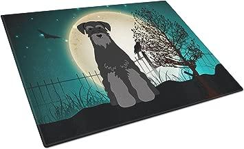 Caroline's Treasures BB2222LCB Halloween Scary Standard Schnauzer Black Glass Cutting Board, Large, Multicolor