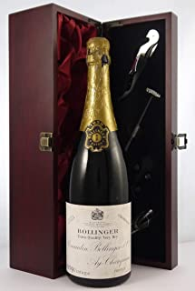 Bollinger Extra Quality Very Dry Vintage Champagne 1959 (2cm inverted ullage) in a silk lined wooden box with four wine ac...