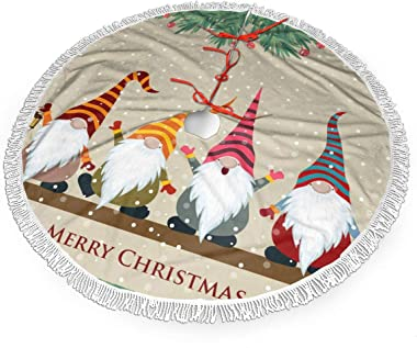 HAOXIANG Gnome Christmas Merry Elf Retro Vintage 30 36 48 Inch Christmas Tassels Lace Tree Skirt Carpet Mat Rugs Cover Themed Round Pad Xmas Holiday Party Decoration Big Large Small