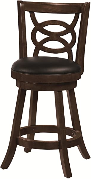 24 Swivel Counter Stools With Upholstered Seat Espresso And Black Set Of 2