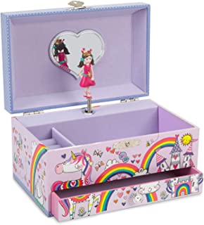 JewelKeeper Unicorn Princess Musical Jewelry Box with Pullout Drawer, Rainbow Glitter Finish, Dance The Sugar Plum Fairy Tune