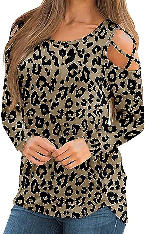 wodceeke Womens Print Irregular Tee O Neck Long Sleeve Hollow T-Shirt Tops