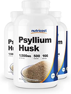 Nutricost Psyllium Husk 500mg, 500 Capsules (3 Bottles)