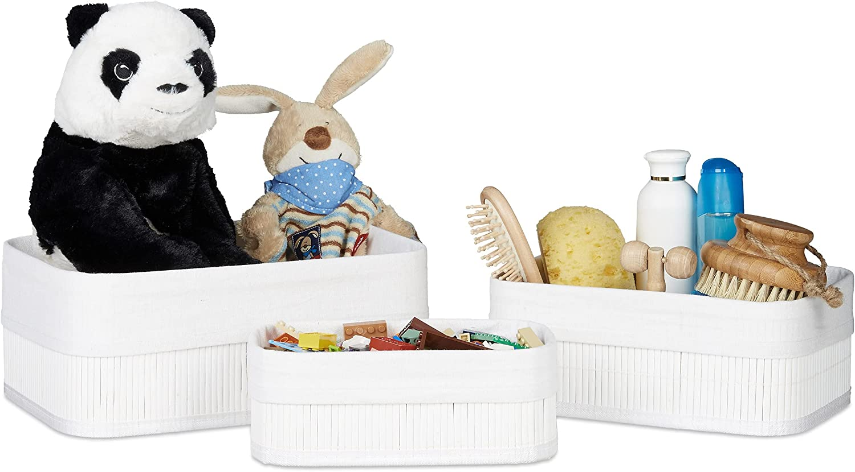 Relaxdays Cajas de almacenaje, Set de Tres, Funda Textil, Rectangular, Accesorio, Baúles, Bambú, Blanco, 20 x 30 x 13 cm