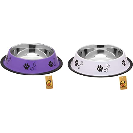 Foodie Puppies Stainless Steel Combo Offer Paw Bone Printed Precious Purple and Royal White Food Water Feeding Bowl for Dogs & Puppies (Medium, 700ml Each)