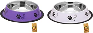 Foodie Puppies Stainless Steel Combo Offer Paw Bone Printed Precious Purple and Royal White Food Water Feeding Bowl for Do...