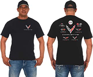 JH DESIGN GROUP Mens Chevy Corvette T-Shirt C1 Thru C8 Flag Emblems Collage