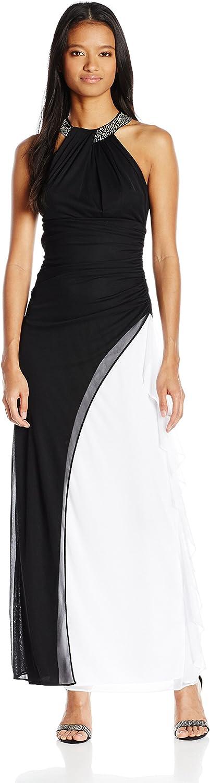 Blondie Nites Womens color Block Halter Neckline Gown Dress