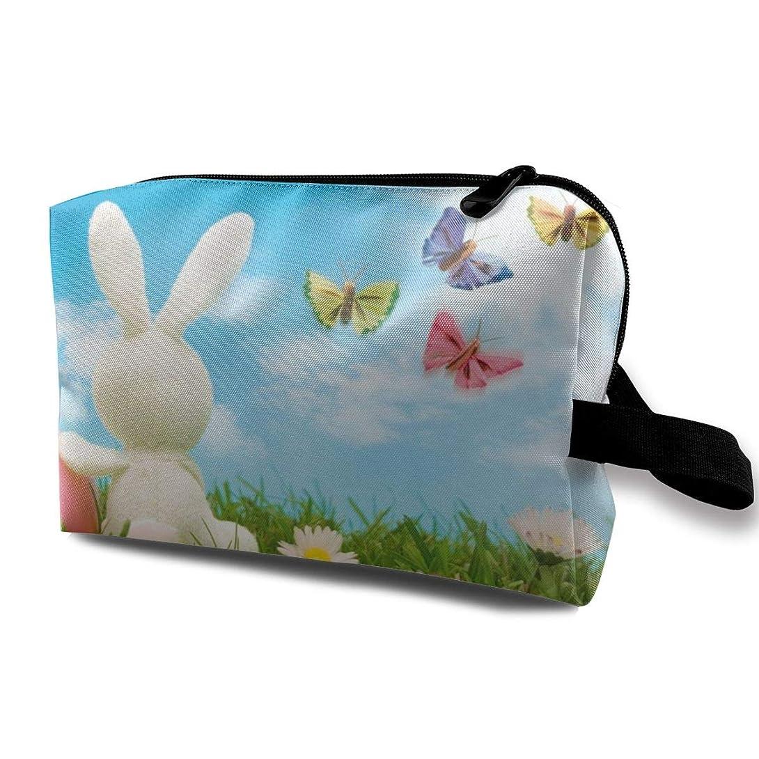 印象的な塗抹太平洋諸島Nature Blue Sky Spring Rabbit Easter 収納ポーチ 化粧ポーチ 大容量 軽量 耐久性 ハンドル付持ち運び便利。入れ 自宅?出張?旅行?アウトドア撮影などに対応。メンズ レディース トラベルグッズ