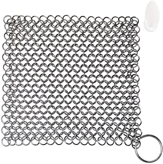 """Cast Iron Cleaner, Chainmail Scrubber, Meirenda 316L Chainmail Scrubber 8"""" x 8"""" Stainless Steel Chain Skillet Cleaner for ..."""
