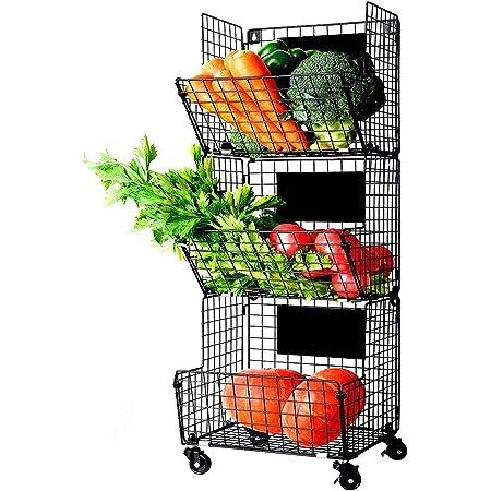 X-cosrack 3 Tier Metal Wire Baskets -Wall Storage Basket Organizer with Wheel, S-Hooks,Adjustable Chalkboards- Hanging Baskets for Kitchen,Fruit, Vegetables, Toiletries, Bathroom Rack(Black)