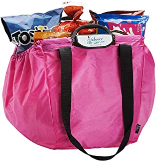"MAKE ROOM FOR LIFE – Clever Shopper – Reusable Shopping Cart Grocery Bag – Pink / 40lb capacity, Shoulder Straps, Heavy Duty Handle/Coupon Pouch/Eco-Friendly / 22"" x 14"" x 15"""