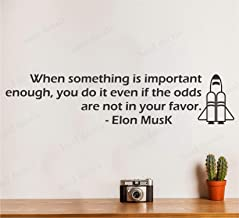 Wallency Motivational Quote Wall Decal by Elon Musk - Removable Falcon 9 Rocket Wall Sticker
