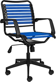 Bungee Office Task Chair, with Flat Elastic Bungie Straps, Adjustable Height (Blue)