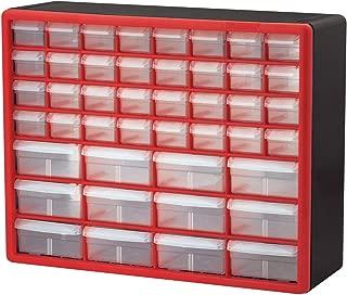 Akro-Mils 10144REDBLK 44-Drawer Hardware & Craft Plastic Cabinet, Red & Black, (Renewed)