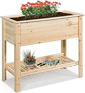 Sponsored Ad - S AFSTAR Raised Garden Bed, Solid Wood Elevated Planter Box with Shelf for Flowers Vegetables Herbs, Indoor...