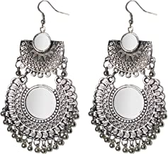 Jewels Kafe German Silver Afgani Tribal Mirror Dangle Earrings for Girls & Women