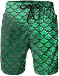 Bright Green Pastel Mermaid Scales Men's Beachwear Board Shorts Quick Dry Without Lining Swim Trunks for Man