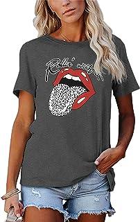 Women's Leopard Print T Shirt Summer Short Sleeve Band...