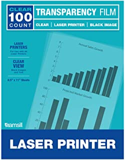 Samsill Economy Transparent Printer Sheets, Projector Film, Clear Transparency Film for Laser Jet Printers, 8.5 x 11 Inch ...
