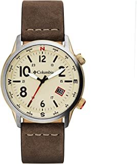Columbia OUTBACKER Stainless Steel Quartz Watch with Leather Strap, Brown, 11 (Model: CSC01-002)