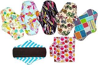 6 Compresas menstruales reutilizables de tela de fibra de carbón de bambú. 25,4 cm de largo. Lavables a máquina. Incluye bolsa de lavado