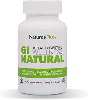 NaturesPlus GI Natural Total Digestive Wellness - 90 Vegetarian Tablets, Bilayer - Natural Gut Health Supplement - Probiot...