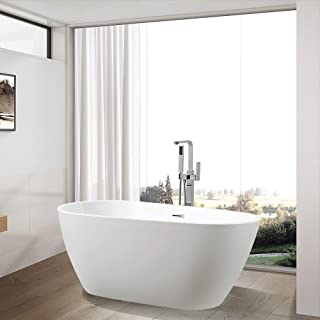 Vanity Art 59 inch Freestanding Acrylic Bathtub   Modern Stand Alone Soaking Tub with Polished Chrome, UPC Certified, Slotted overflow & Pop-up Drain - VA6515-S