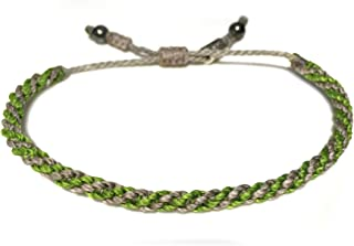 RUMI SUMAQ Gray Green Sailor Rope Bracelet: Men and Women Braided Woven Knot Jewelry