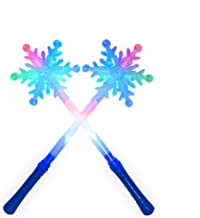Sensory4u (2 Pack) LED Light Up Frozen Snowflake Wand Toy for Kids - Perfect Costume Accessory for Princess