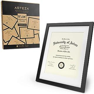 ARTEZA Marcos para Diplomas | 27,9 x 35,6 cm (21,6 x 27,9 cm con recuadro) | Paquete de 2 Marcos | Portafotos con Acabado en Madera | Frontal de Cristal | Marcos de Foto para Diplomas y certificados