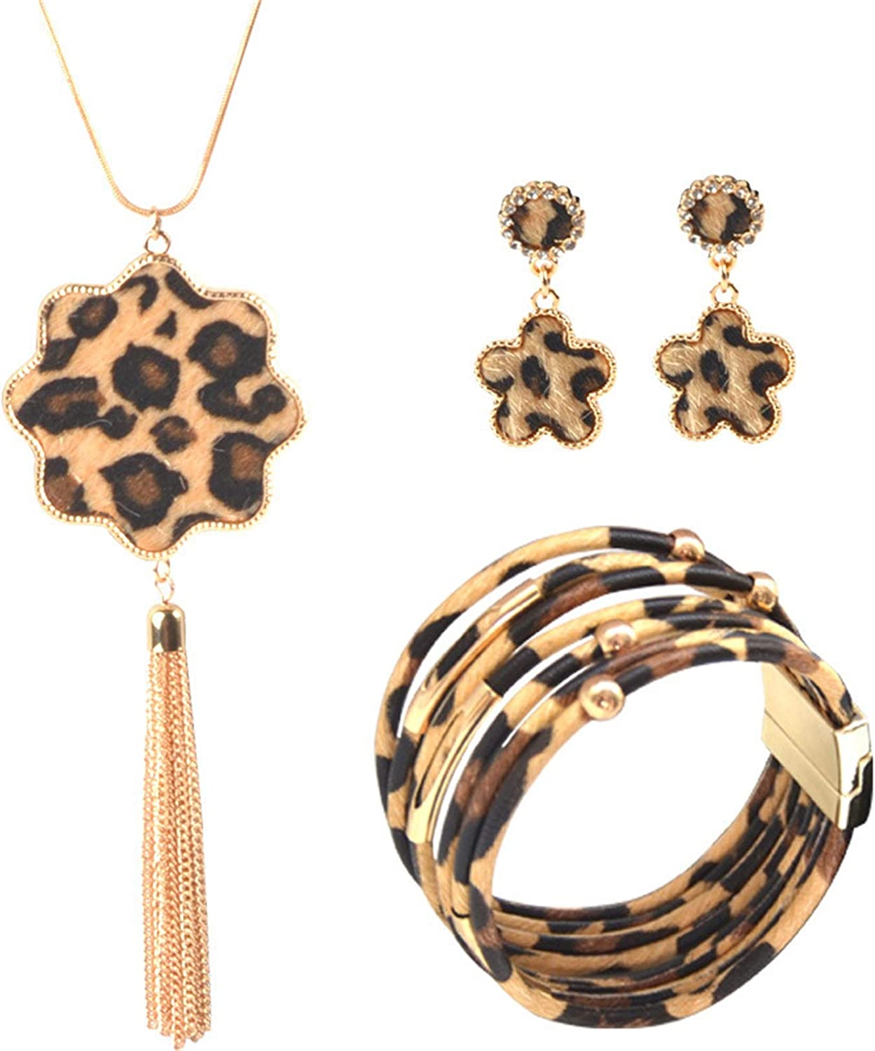 Year-end gift Deluxe 3-4 Pieces Leopard Jewelry Multilayer Leathe Set Bohemia