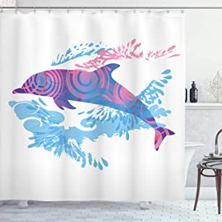 Ambesonne Sea Animals Shower Curtain, Dolphin with Colorful Patterns Underwater Sea Life Illustration, Cloth Fabric Bathroom Decor Set with Hooks, 75