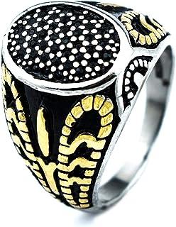 خاتم تركي بيضاوي مقاوم للخدوش والصدأ والماء للرجال - فضي واسود