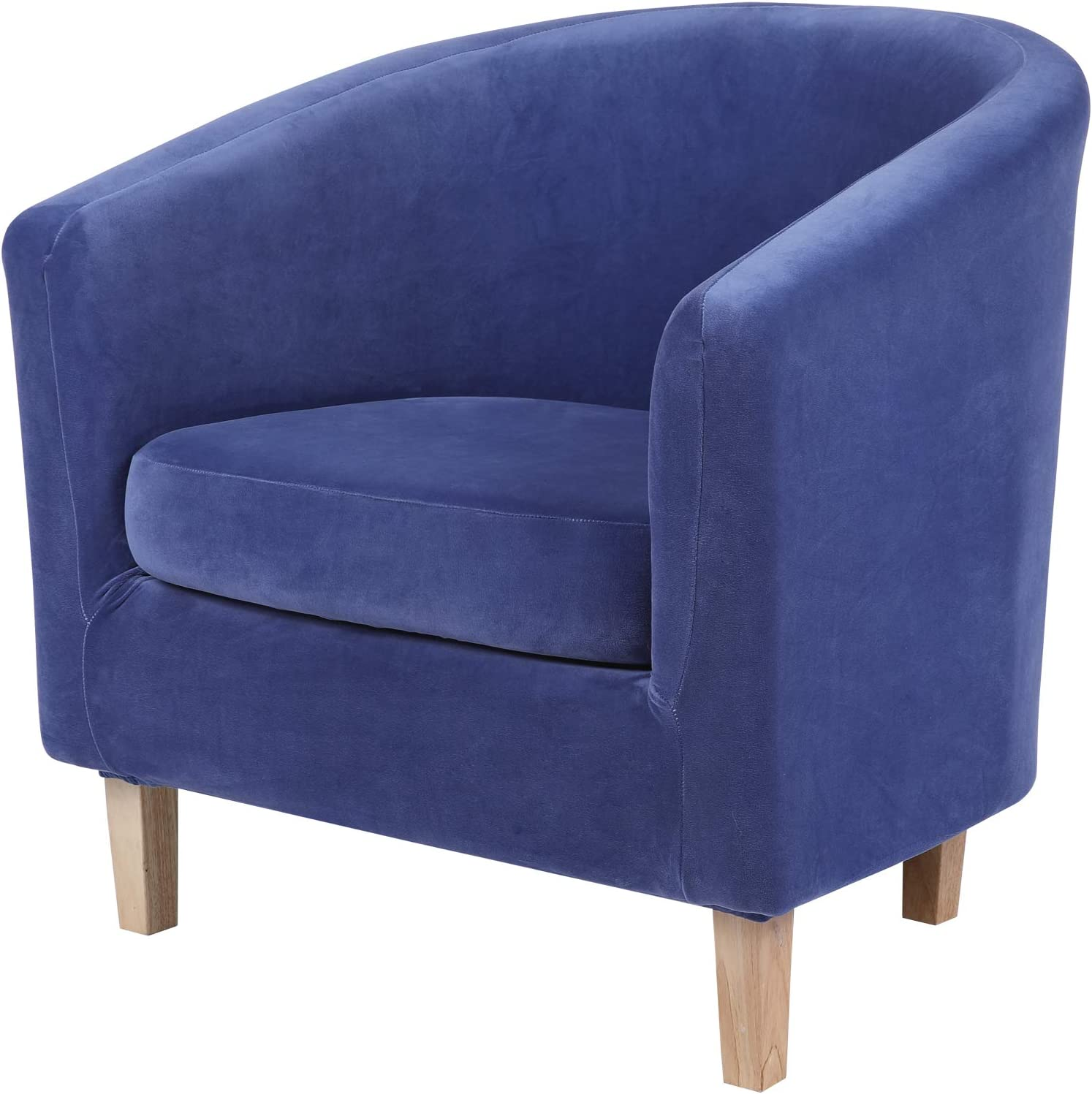 hyha 2 Pieces Velvet Tub Chair Cover with Cushion Cover, Removable Stretch Club Chair Slipcover for IKEA Tullsta, Armchair Furniture Protector for Living Room, Navy