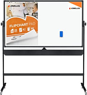 Mobile Whiteboard - Large Adjustable Height 360° Reversible Double Sided Dry Erase Board - Magnetic White Board on Wheels - Portable Rolling Easel with Stand, Flip Chart Holders, Paper Pad|70x36 Black