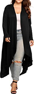 Women's Plus Size Cardigan Long Sleeve Open Front Drape Cardigans Lightweight Long Duster