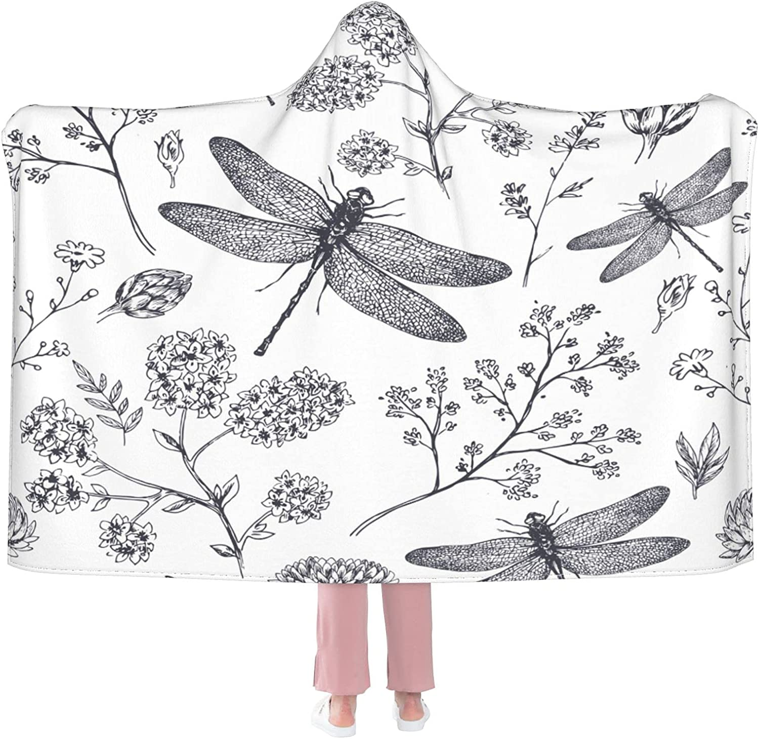 Dragonfly Limited time sale Wearable Blanket Flannel Soft Hooded Branded goods