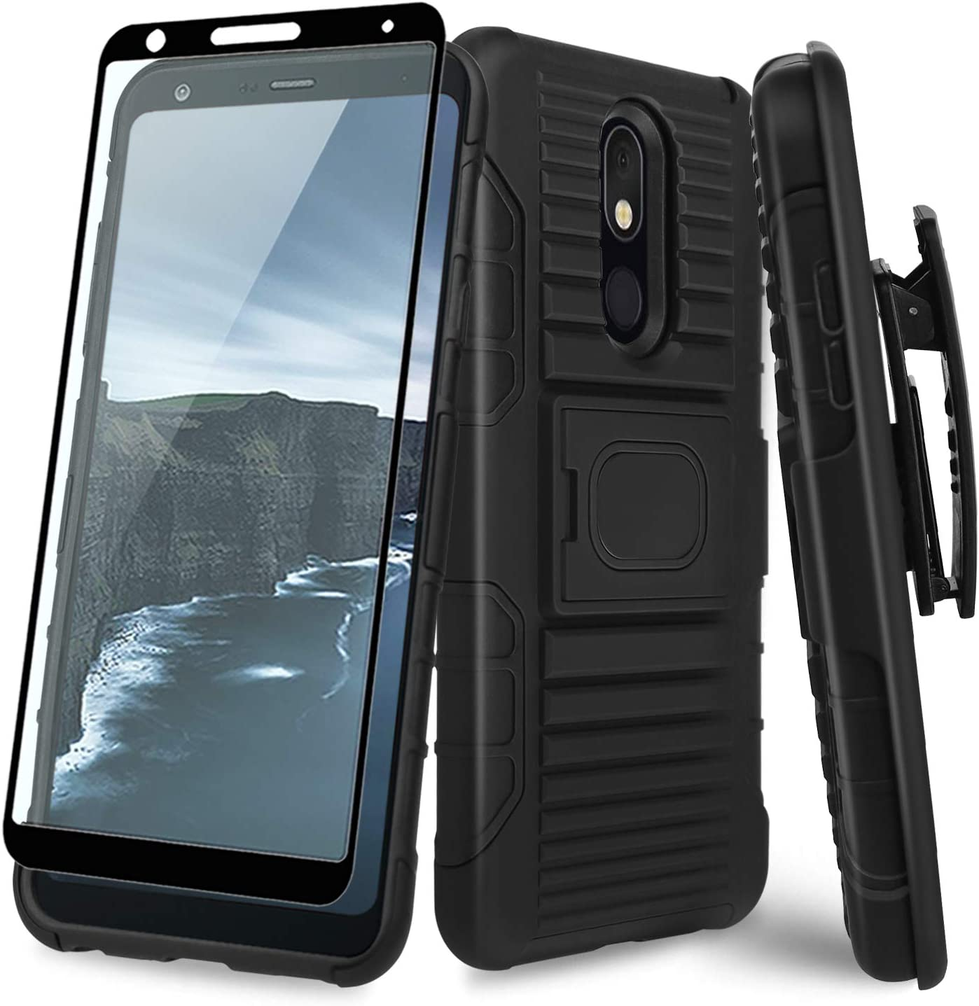 TJS Phone Case Compatible with LG Aristo 4,Aristo 4 Plus,Escape Plus,K30 2019,Arena 2,Tribute Royal [Full Coverage Tempered Glass Screen Protector] Belt Clip Holster Magnetic Support Kickstand (Black)