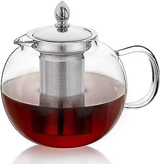 Hiware Glass Teapot Kettle with Infuser, Removable Tea Strainer, 45oz Large Microwavable and Stovetop Safe Tea Maker, Blooming & Loose Leaf Tea Pot Set