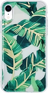 HolaStar Tropical Case for iPhone XR, Ultra Thin Glossy Green Palm Leaves with Gold Stem Soft Cover