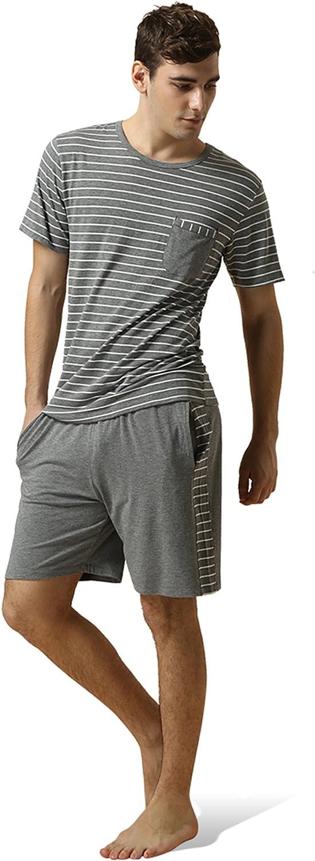 Men's Pajama Set Cotton Striped Pjs Set For Men Classic Short Sleeve Sleepwear For Loose Casual Nightwear