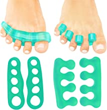 ViveSole Toe Stretchers (4 Pieces) - Silicone Gel Separators - Therapeutic Spa Spreaders for Plantar Fasciitis, Bunions, Overlapping Hammer Toe Spacers - Metatarsal Yoga Cushion (Green, Small)
