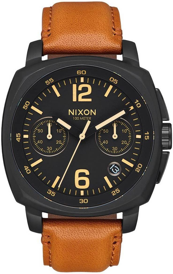 Nixon Charger Chrono Leather -Spring 2017- All Black/Light Brown